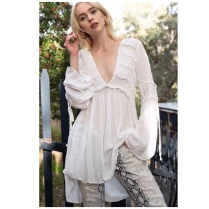Off White Tunic with Ruffle Detail & Bell Sleeves